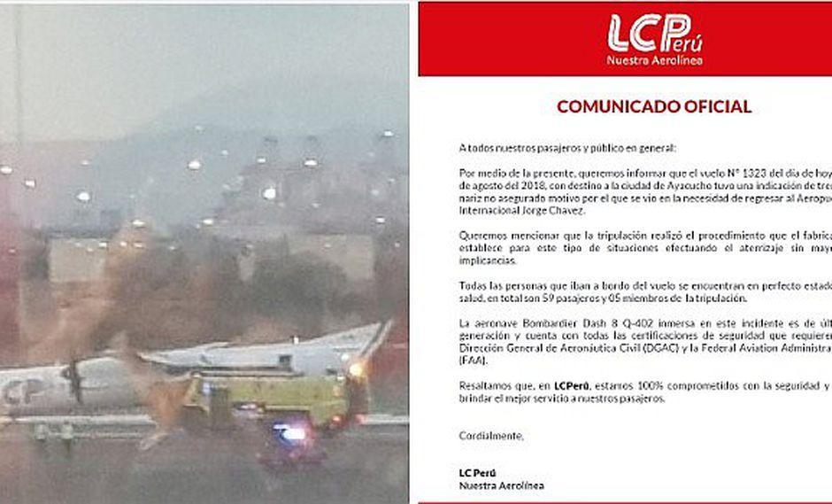 Avión se vio en la obligación de hacer aterrizaje forzoso por dificultades técnicas, según empresa LCP