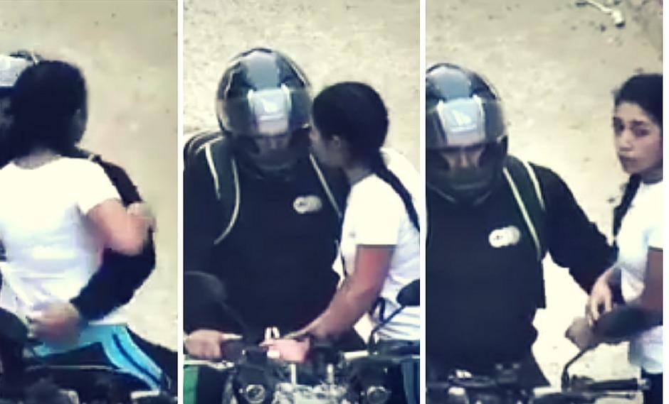 Video capta precisos momentos en que motociclista intenta subir a la fuerza a jovencita