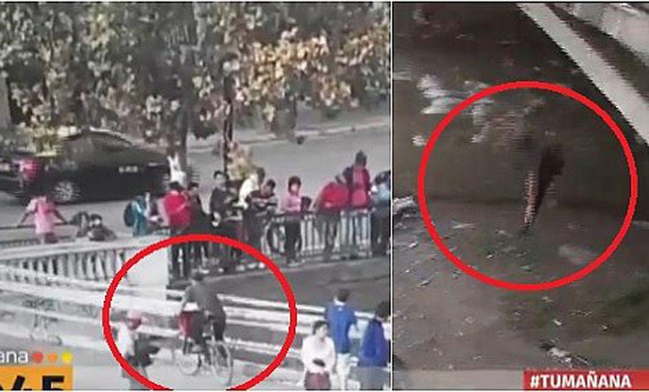 Ciclista se acerca a puente para ver accidente, pero cae por curioso (VIDEO)