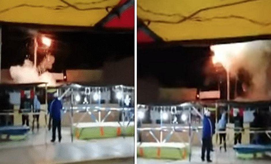 Corto circuito en poste desata pánico en feria de Chiclayo | VIDEO