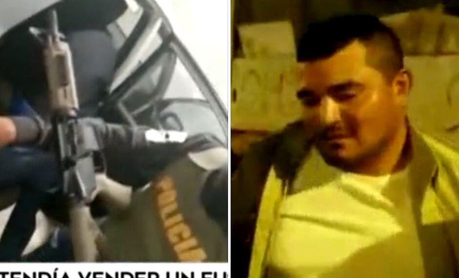 Sujeto es sorprendido cuando intentaba vender fusil de guerra en centro comercial (VIDEO)