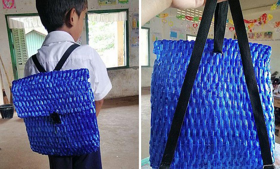 Papá sin dinero le fabrica su propia mochila escolar a su hijo | FOTOS