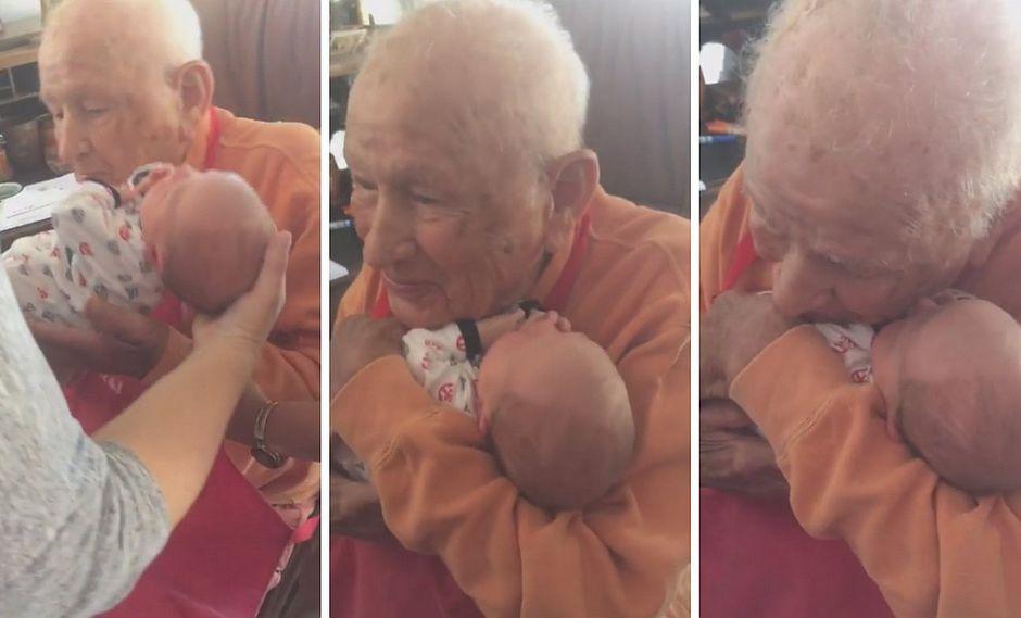 Ancianito conmueve con reacción al momento de conocer a su bisnieto (VIDEO)